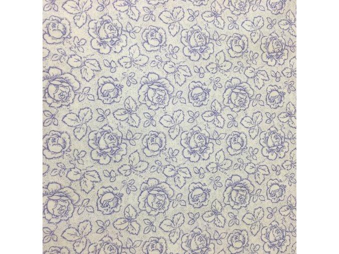 Bavlněné plátno - fialové růžičky na bílé