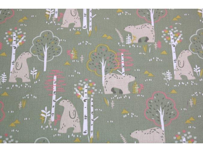 Bavlněné plátno - medvěd v lese