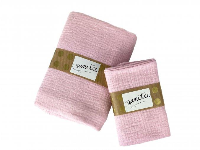 Mušelínový šátek světle růžový malý