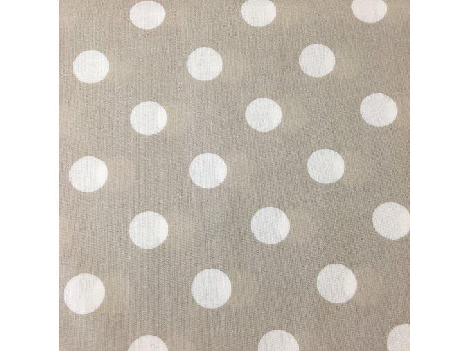 Bavlněné plátno - béžový puntík 2cm