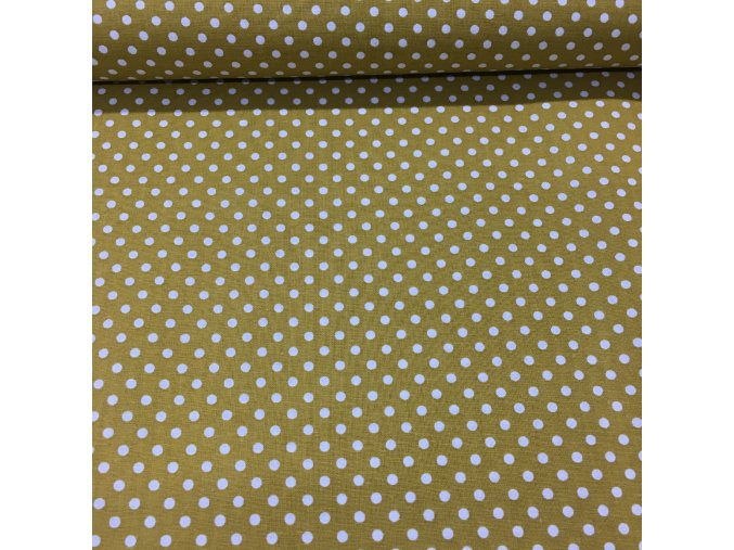 Bavlněné plátno - okrové s bílými puntíky