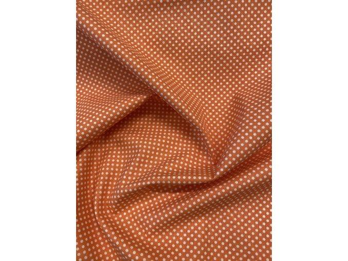 Bavlněné plátno - oranžové s bílými puntíky