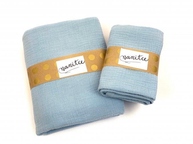 Mušelínový šátek světle modrý malý
