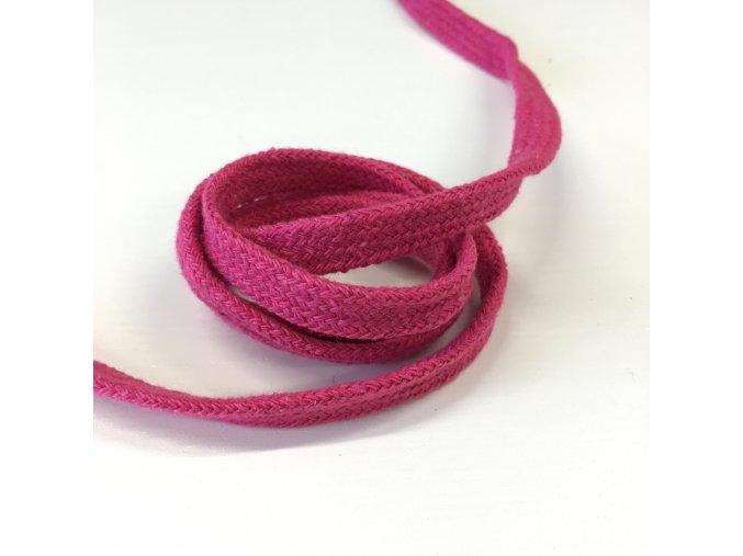 bavlněná šňůra plochá šíře 10mm růžová 10m vcelku