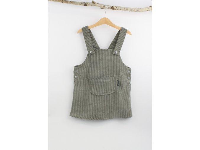Manšestrové laclové šaty šedé (Velikost 92/98)