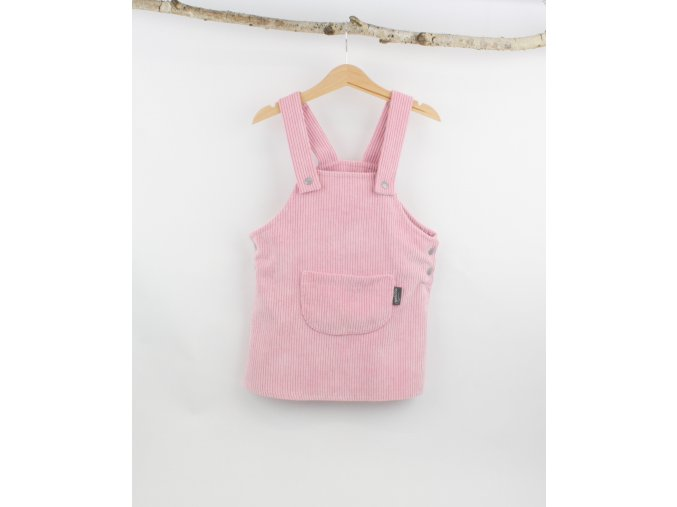 Manšestrové laclové šaty růžové (Velikost 92/98)