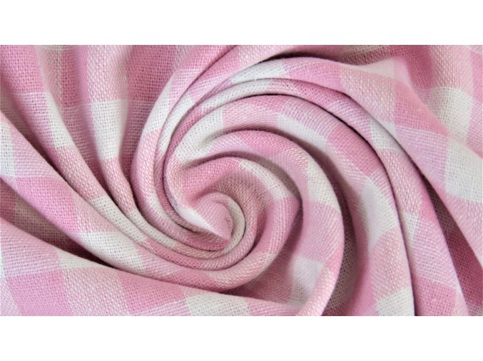 Bavlněné plátno - růžovo bílé káro 1cm