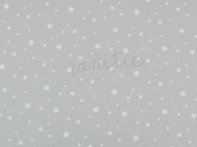 Bavlněné plátno - bílé hvězdičky na světle šedé 1B