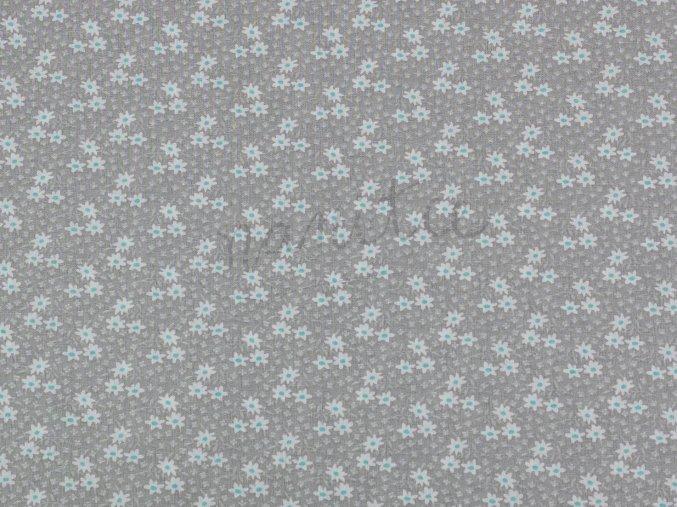 Bavlněné plátno - kytičky Midinette na světle šedé 011