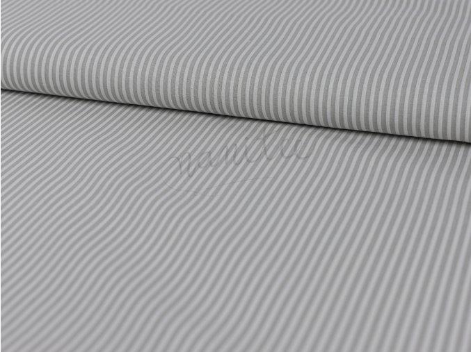 Bavlněné plátno - světle šedý proužek na bílé 001