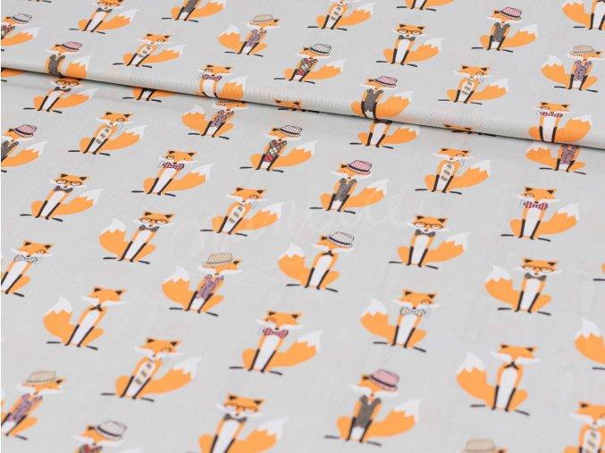 Bavlněné plátno  - béžové s liškami