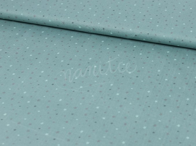 Bavlněné plátno - mentolově zelené s hvězdičkami 426