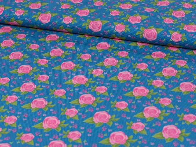 Bavlněné plátno - středně modré s růžičkami 253