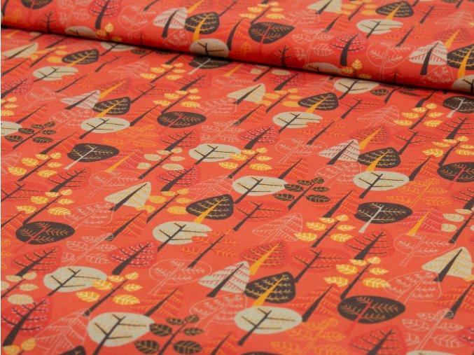 Bavlněný úplet - červený se stromy 425