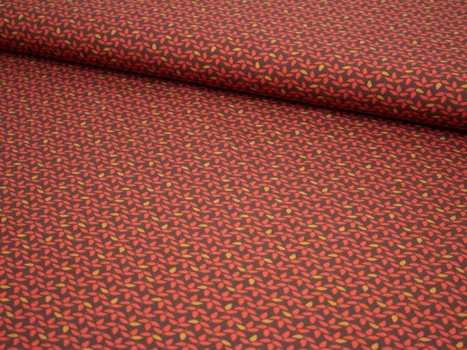 Bavlněný úplet - podzimní lístečky na hnědé 178