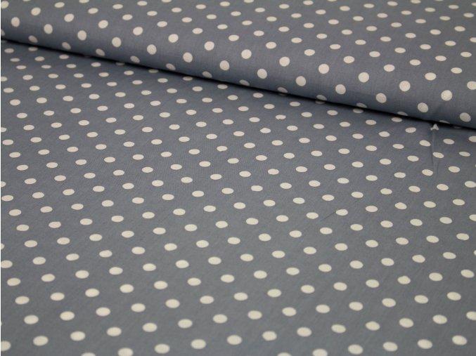"""Bavlněné plátno - """"DAISY"""" velký šedý puntík"""