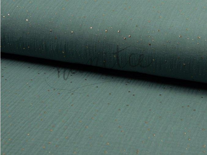 Mušelín - Dvojitá gázovina - zlaté tečky eukalyptový 022