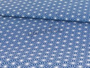 Bavlněné plátno - modré s geometrickými tvary