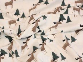 Bavlněný úplet - sobi v lese bílá