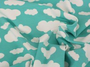 Bavlněný úplet - obláčky na mátové