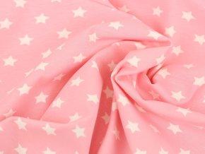 Bavlněný úplet - hvězdičky na růžové