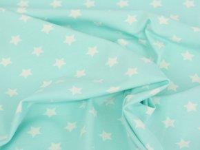 Bavlněný úplet - hvězdičky na mátové