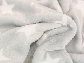 Fleece - hvězdičky světle šedá