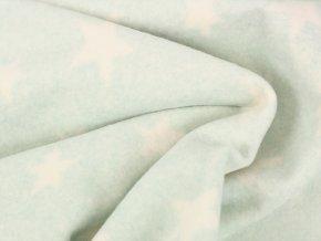 Bio Bavlněný fleece hvězdičky mentolová