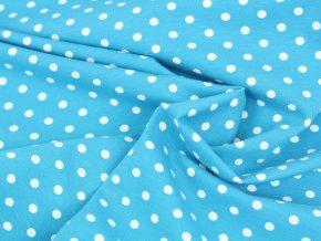 Bavlněný úplet - tyrkysově modrý s puntíky