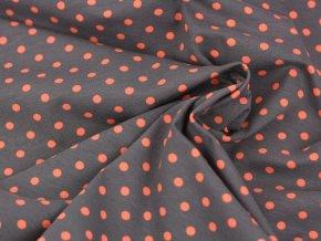 Bavlněný úplet - tmavě šedý s oranžovými puntíky