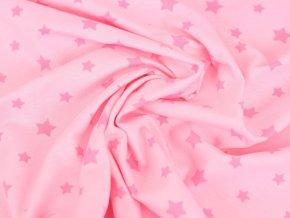 Bavlněný úplet - růžový s tmavšími hvězdami