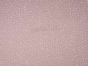 Bavlněný úplet - puntík bílá starorůžová