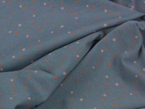 Bavlněný úplet - modrý s barevnými puntíky