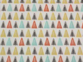 Bavlněné plátno  - barevné stromečky