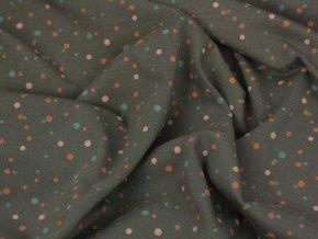 Bavlněný úplet - šedý s barevnými puntíky