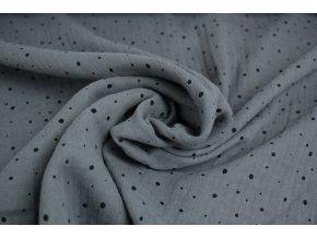 Mušelín - dvojitá gázovina - tmavě šedý s černýma tečkama 068