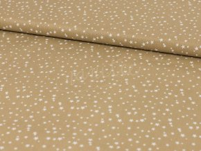 Bavlněné plátno - béžové s bílými hvěždičkami