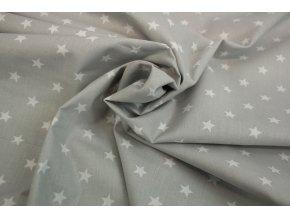 Bavlněné plátno - světle šedé s bílými hvěždičkami