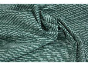 Bavlněné plátno - zelené s bílými čárkami