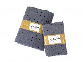Mušelínový šátek hořčicový s černými puntíky malý