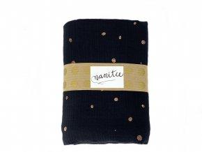 Mušelínový šátek hořčicový s černými puntíky velký