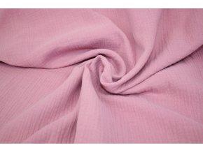 Mušelín - dvojitá gázovina - růžová tmavší 014