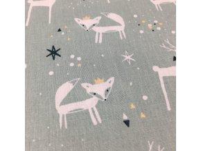 Bavlněné plátno - lišky a jeleni se zlatýmii korunkami na mentolové