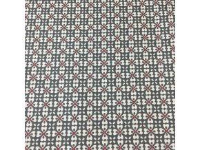 Bavlněné plátno - černo červené geo tvary