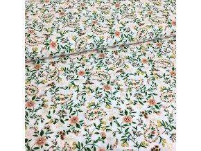 Bavlněné plátno  - Sophia, kytičky do oranžova