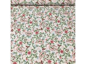 Bavlněné plátno  - Sophia, kytičky do růžova