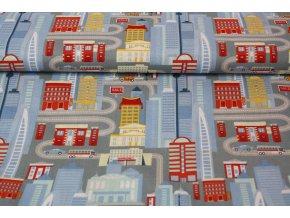 Bavlněné plátno  - město, domy, ulice