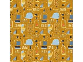 Bavlněný popelín - vzkaz v lahvi na okrové
