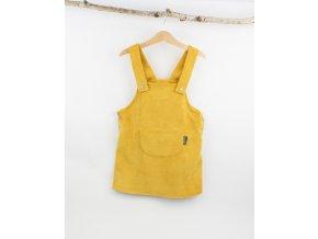 Manšestrové laclové šaty hořčicové (Velikost 92/98)