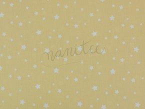 Bavlněné plátno - bílé hvězdičky na světle žluté 28B